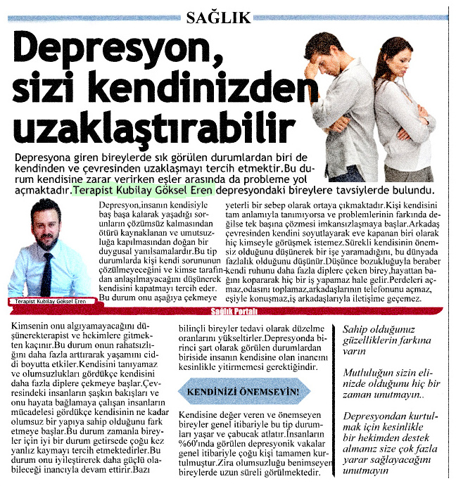 Depresyon sizi kendinizden uzaklaştırabilir.